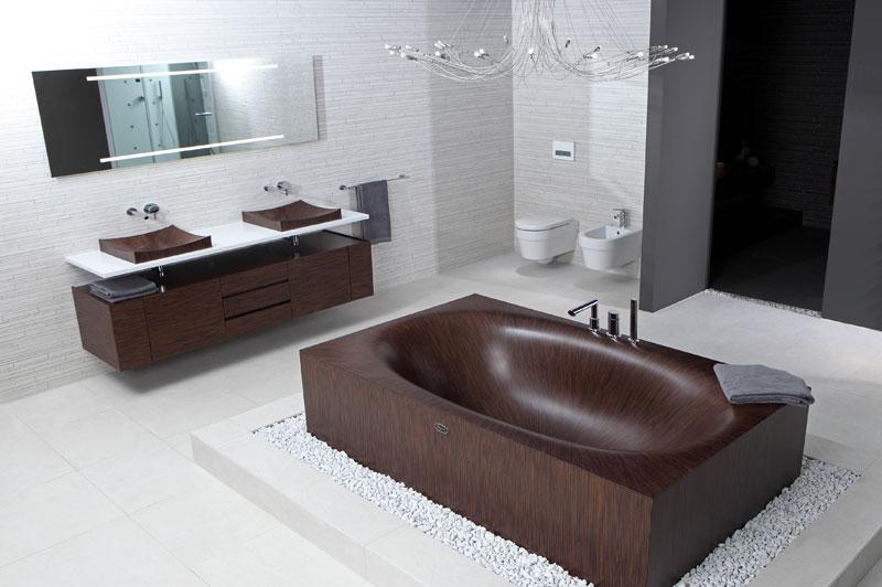 dřevo v koupelně